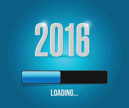 week end: 2016 a�os de carga de dise�o de barras ilustraci�n sobre un fondo azul Vectores