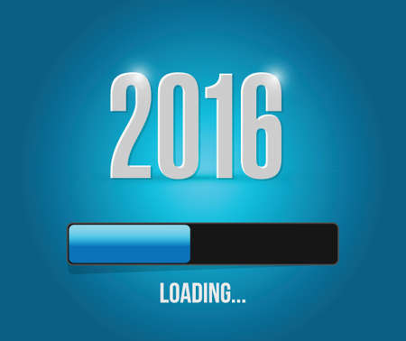 2016 loading year bar illustration design over a blue background Vector