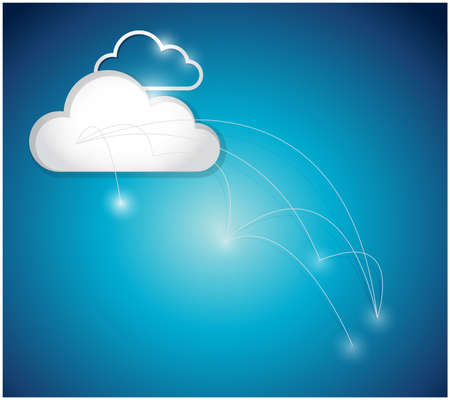 connectivity concept: cloud computing connection network illustration design over a blue background