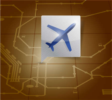 airport locator illustration design over a map background illustration