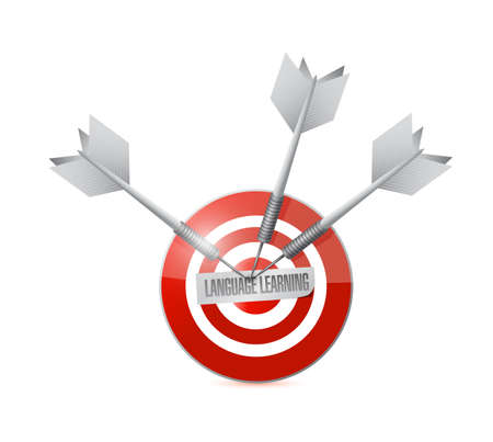 language learning target sign illustration design over a white background illustration