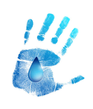 safe water: hand print and water drop illustration design over a white background Stock Photo