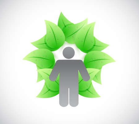 ecologically: leaves around a people. illustration design over a white background