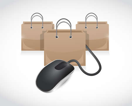 emarketing: shopping bags and mouse cable illustration design over a white background