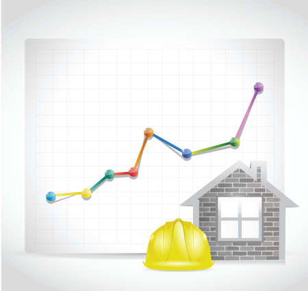 real estate construction business graph illustration design over a white background
