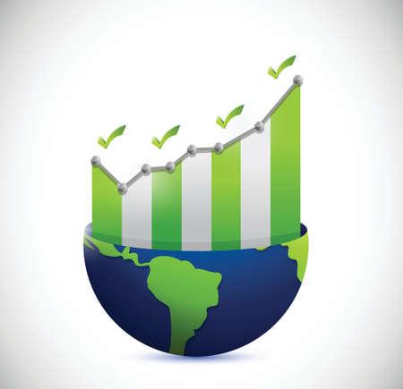 global market: business graph inside a globe and check marks illustration design over a white background Illustration