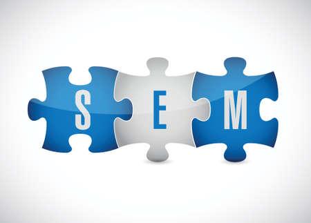 sem puzzle pieces illustration design over a white background Vector