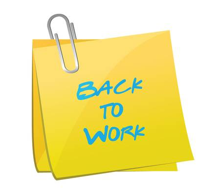 end of summer: back to work post message loading concept illustration design over a blue background