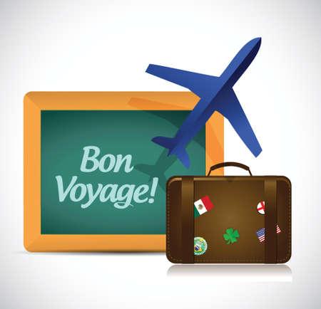 goodbye: bon voyage or safe trip travel illustration design over a white background Illustration