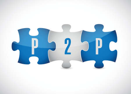 peer: p2p puzzle pieces illustration design over a white background Illustration