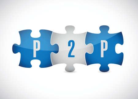 peer to peer: piezas del rompecabezas p2p diseño ilustración sobre un fondo blanco