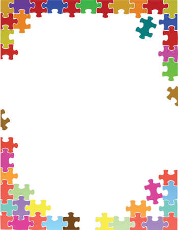 rectangle frame: purple puzzle pieces border template illustration design over a white background Illustration