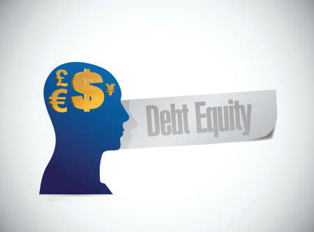 accountancy: debt equity sign illustration design over a white background