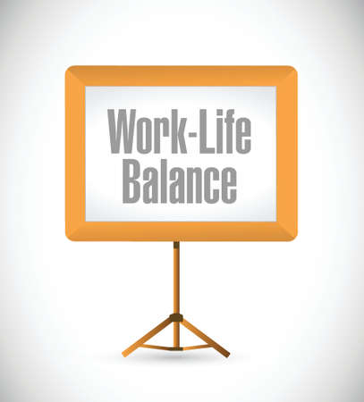 white work: work life balance presentation board illustration design over a white background Illustration