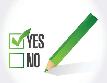 yes or no: yes check mark illustration design over a white background