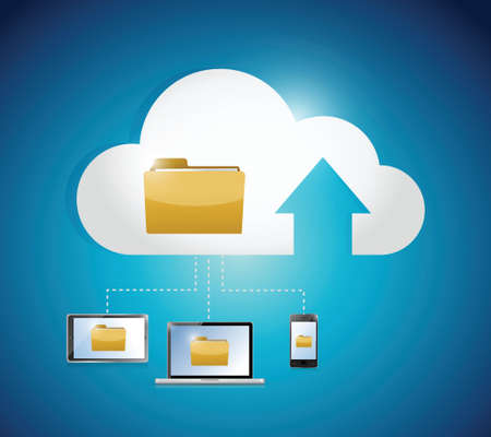 file access cloud computing electronic connection illustration design over a blue background Vector