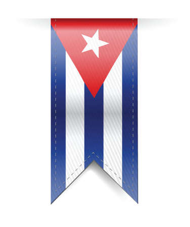 cuba flag banner illustration design over a white background