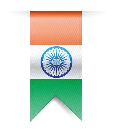흰색 배경 위에 인도 플래그 배너 그림 디자인