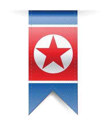 north korea flag banner illustration design over a white background Vector