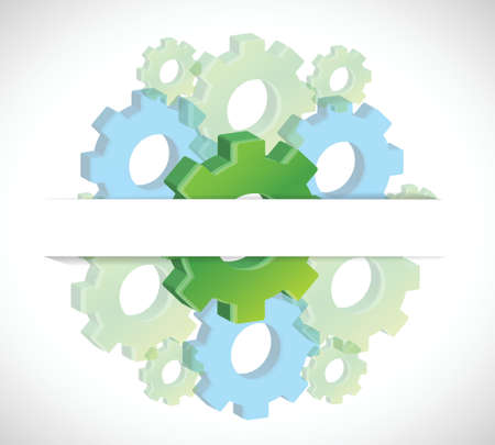 set of gears underneath a paper pocket illustration design over a white background Vector
