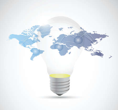 vision future: light bulb and world map connection illustration design over a white background