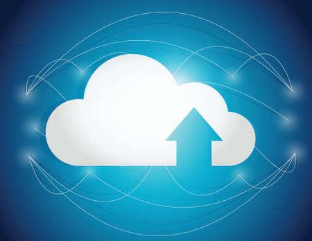 クラウド ・ コンピューティング線接続イラスト デザイン青い背景上  イラスト・ベクター素材