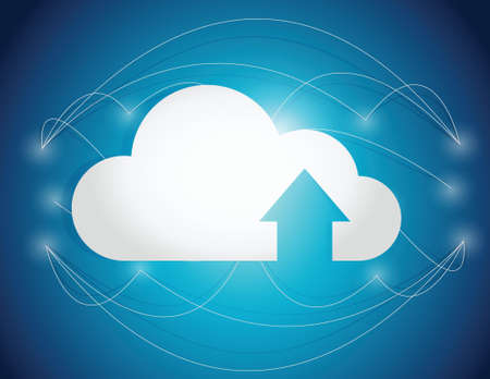 cloud computing lines connection illustration design over a blue background Vector