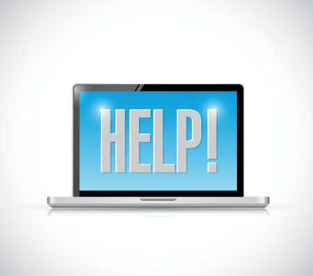 computer help sign message illustration design over a white background Illustration