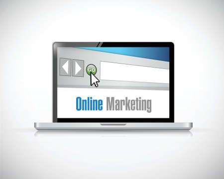 referral: online marketing computer sign concept illustration design over a white background Illustration