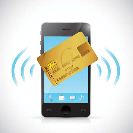 smart card: smart phone and credit card shopping concept. illustration design over a white background