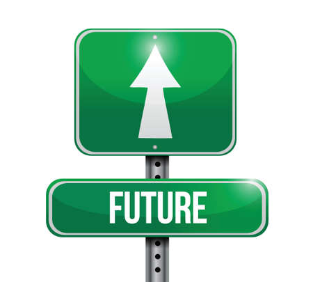 verifying: future signpost illustration design over a white background