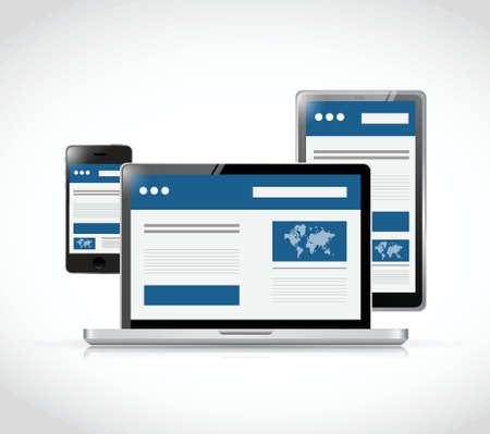 flexible business: responsive business web site platforms illustration design over a white background