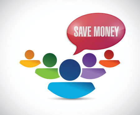 peeler: save money sign and avatar team illustration design over a white background
