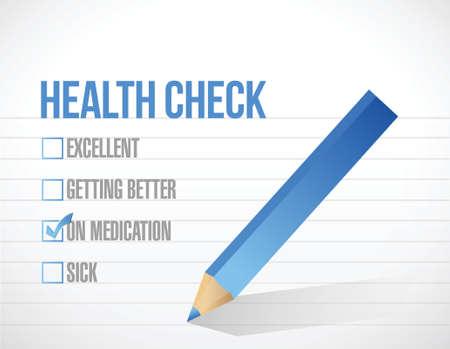 health check: health care check mark list illustration design over a white background Illustration