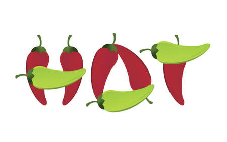 hot peppers text sign illustration design over a white background Illusztráció