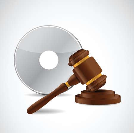 흰색 배경 위에 지적 재산권 법 보호 망치 일러스트 디자인 일러스트