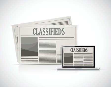 classifieds: search for classifieds on a computer illustration design over a white background Illustration