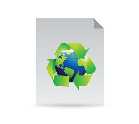 paper and recycle globe illustration design over a white background