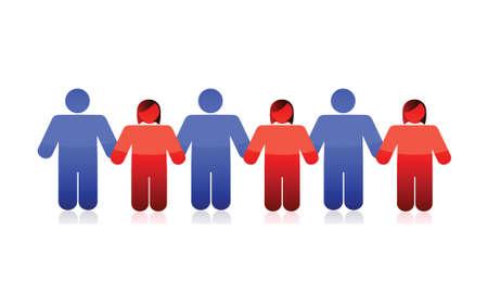 mankind: people holding hands illustration design over a white background