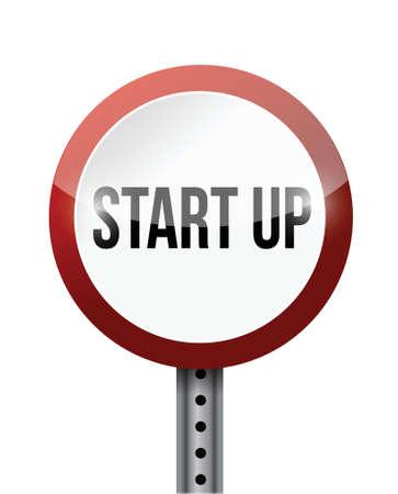 investor: start up street sign illustration design over a white background