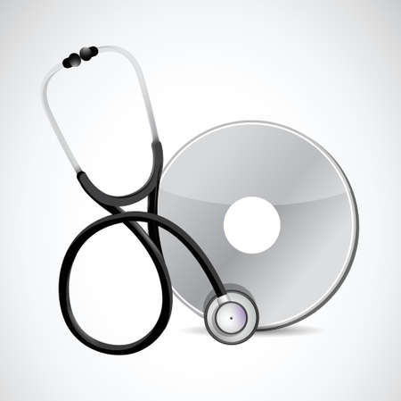stethoscope and cd illustration design over a white background Vector