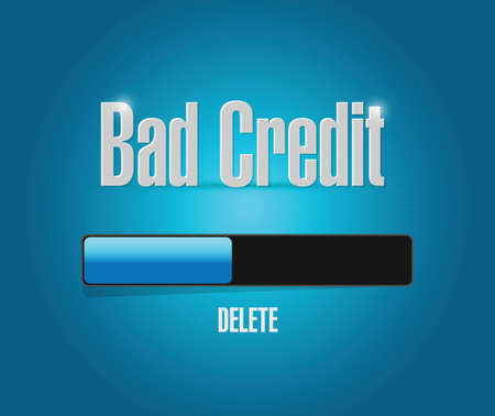 txt: delete bad credit loading concept illustration design over a blue background