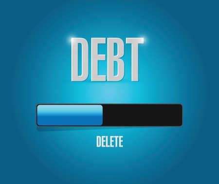 week end: eliminar la carga de la deuda Ilustraci�n del concepto de dise�o sobre un fondo azul