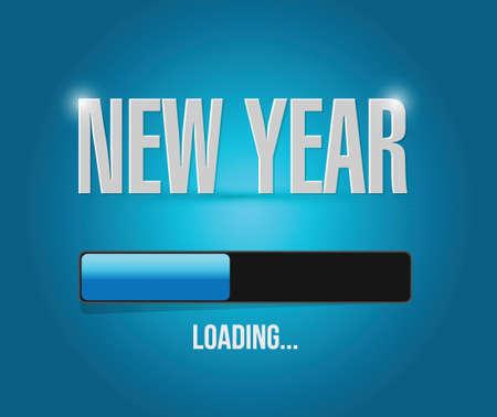 new year loading concept illustration design over a blue background Ilustrace