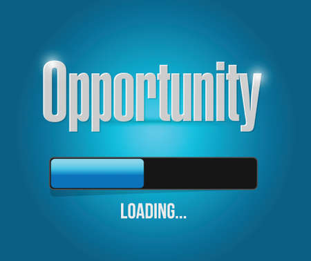 business opportunity: opportunity loading concept illustration design over a blue background