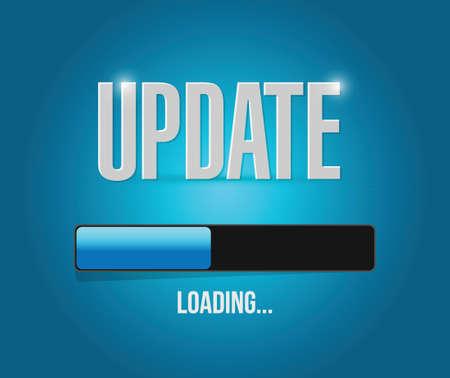 Carga de actualizaciones de diseño de concepto de ilustración sobre un fondo azul