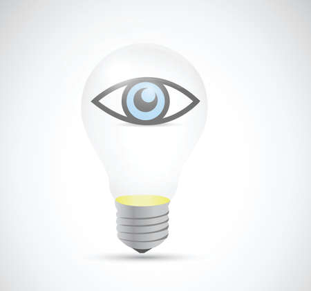 eye inside a light bulb. illustration design over a white background Vector