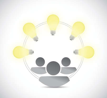 indecisive: great ideas light bulbs and teamwork concept illustration design over a white background Illustration