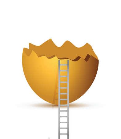 Uovo rotto e scaletta. design illustrazione su uno sfondo bianco Archivio Fotografico - 28094649