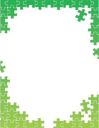 緑のパズルのピース ボーダー テンプレート イラスト デザイン、白い背景の上